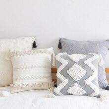 45*45 Chair Cushion Nordic Modern Home Decor Minimalist Pillow Tufted Tassel Morocco Gray Seat Cushion Pillowcase