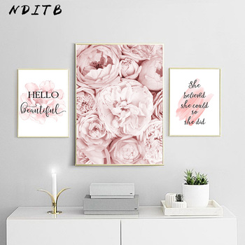 Pink Peony Flower Poster Nordic Style Fashion Quotes Wall Art Print Canvas Painting Modern Picture Girl Room Home Decoration perfume fashion poster eyelash lips makeup print canvas art painting pink flower wall picture modern girl room home decoration