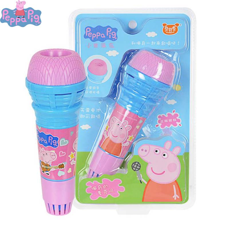 Peppa Pig Original 19cm Echo Microphone No Battery Anime Figure Cartoon Microphone Kids Toy For Children Birthday Gifts 2P14
