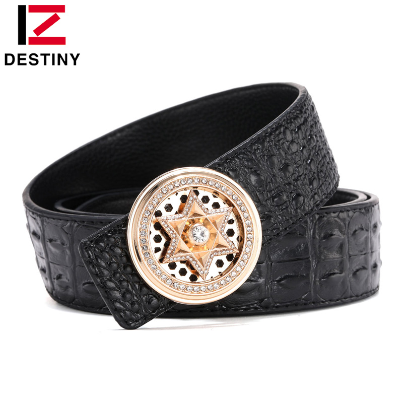 DESTINY Latest Fashion Men Belt Crocodile High Quality Cow Genuine Leather Luxury Strap Male Belts For Man Diamond Rotate Buckle