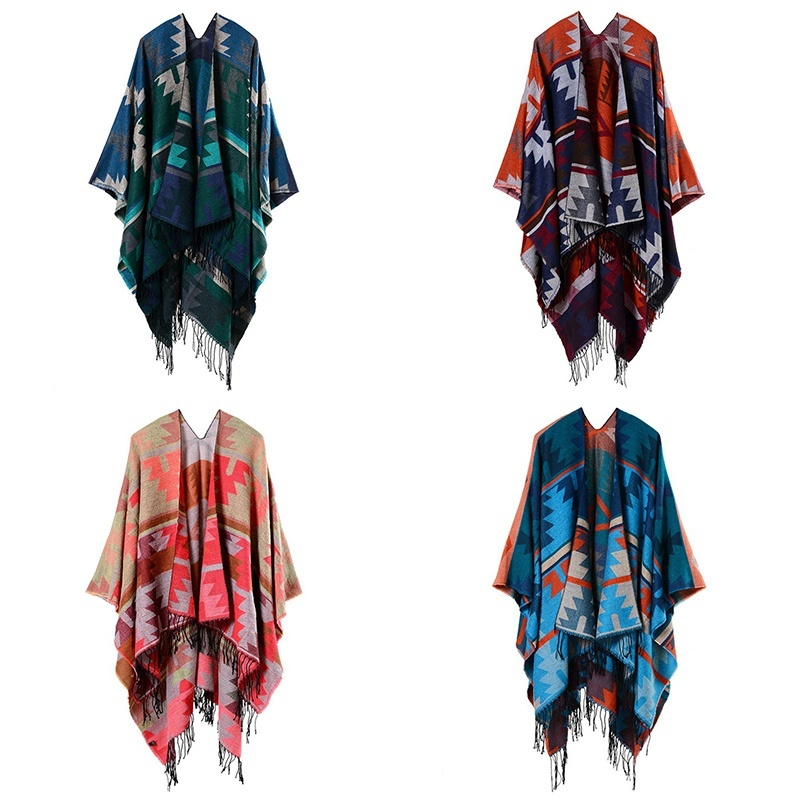 Womens Open Front Shawl Cloak Boho Gypsy Hippie Cape Poncho Kimono Blanket Wrap Winter Warm 903-B402