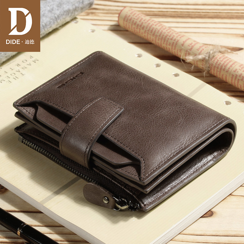 DIDE Men's Coin Purse Bag Genuine Leather Wallets Male Brand Vintage Cowhide Zipper Short Wallet coffee card holder Gift Box