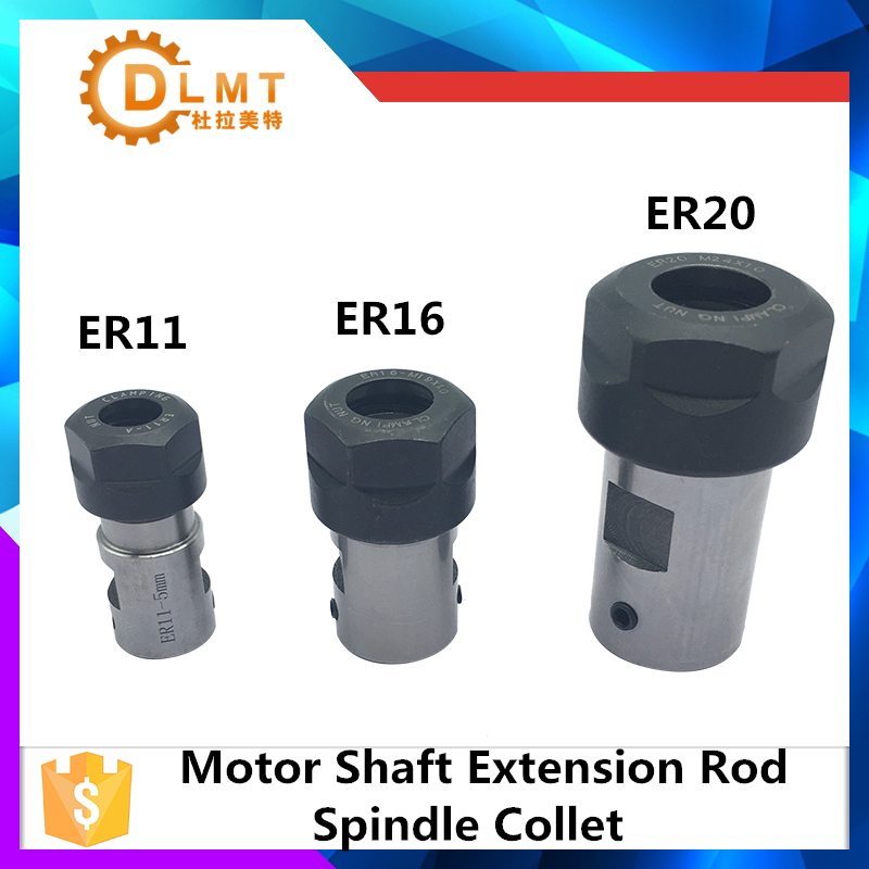 C20 ER16 Collet Chuck Motor Shaft Extension Rod Spindle Collet Lathe Tools Holder Inner 5MM 6MM 8MM 10MM