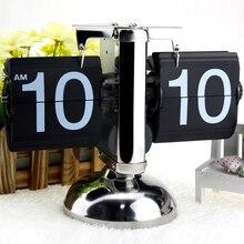Reloj Digital abatible a pequeña escala, reloj de mesa Retro con tapa, de acero inoxidable, de cuarzo operado con engranaje interno, para decoración del hogar