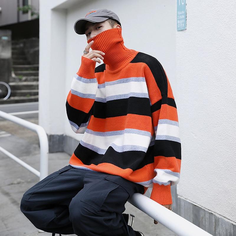 Long Sleeve Winter Sweater Men 2019 Pullover Korean Men Turtleneck Knitted Stripe Strretwear Winter Men's Sweater Fashion