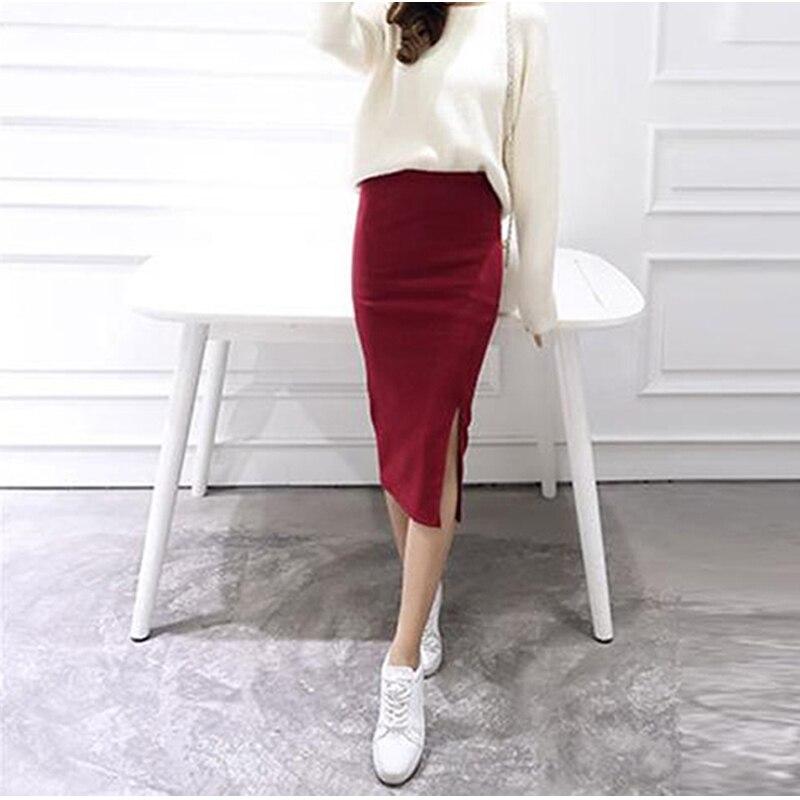 2019 Autumn Winter Bodycon Skirt Women Split Skirt Mid Calf Slim Pencil Skirts For Women Female Knit Hip Sexy Skirt