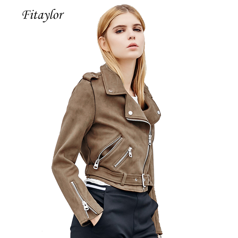 Fitaylor Autumn Women Faux Suede Jacket Slim PU Leather Jacket Motorcycle Leather Jackets White Biker Punk Outwear