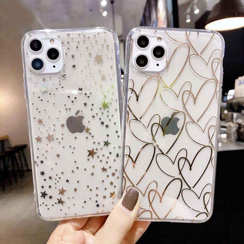 Lovebay Cinta Jantung Ponsel Case untuk iPhone 7 8 6 6 S Plus 11 Pro X XR X MAX Transparan dilapisi TPU Silikon Back Cover
