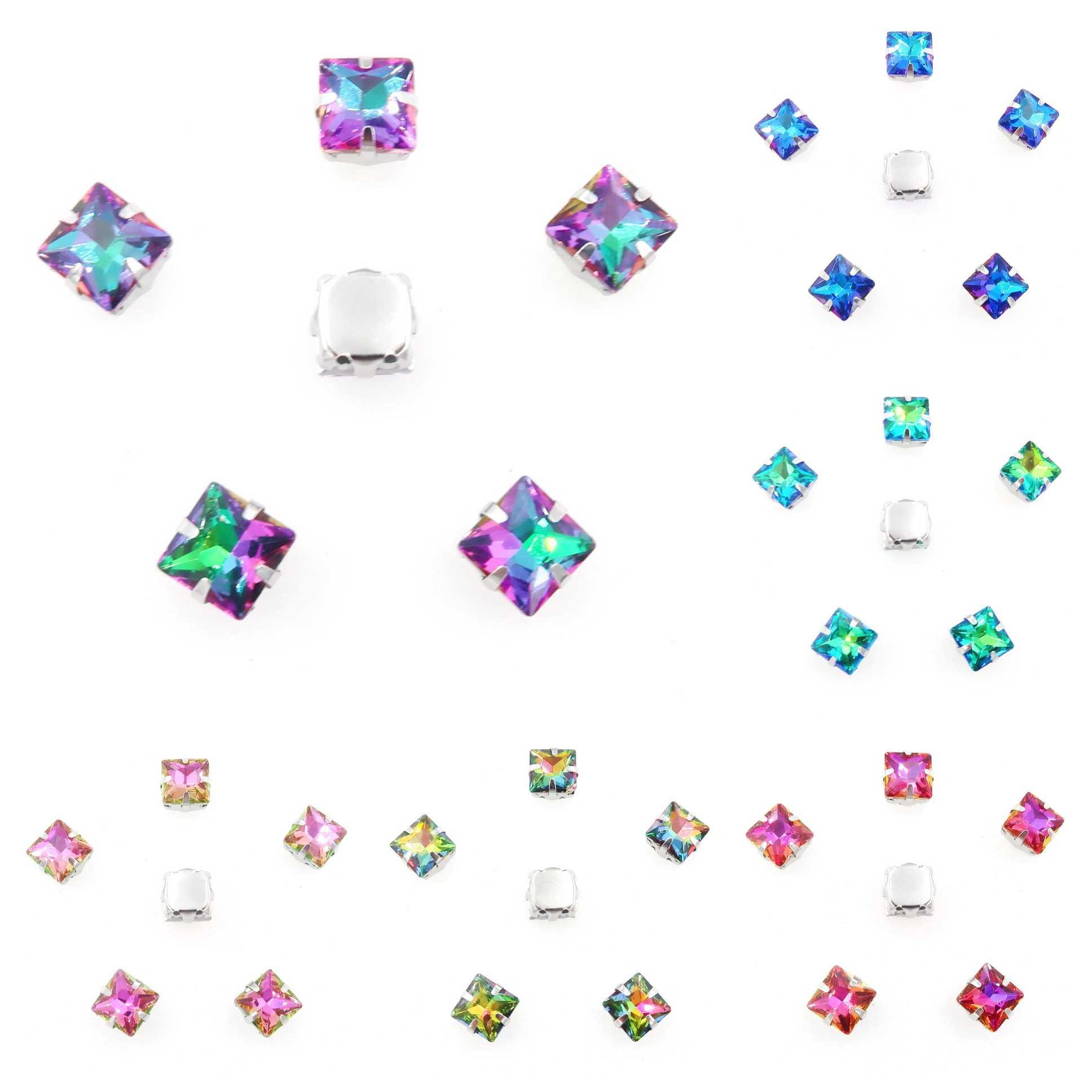 Cristal cristal montura de garra de plata 8mm 10mm 12mm Colores de lujo forma cuadrada coser cuentas de diamantes de imitación ropa zapatos y bolsos diy trim