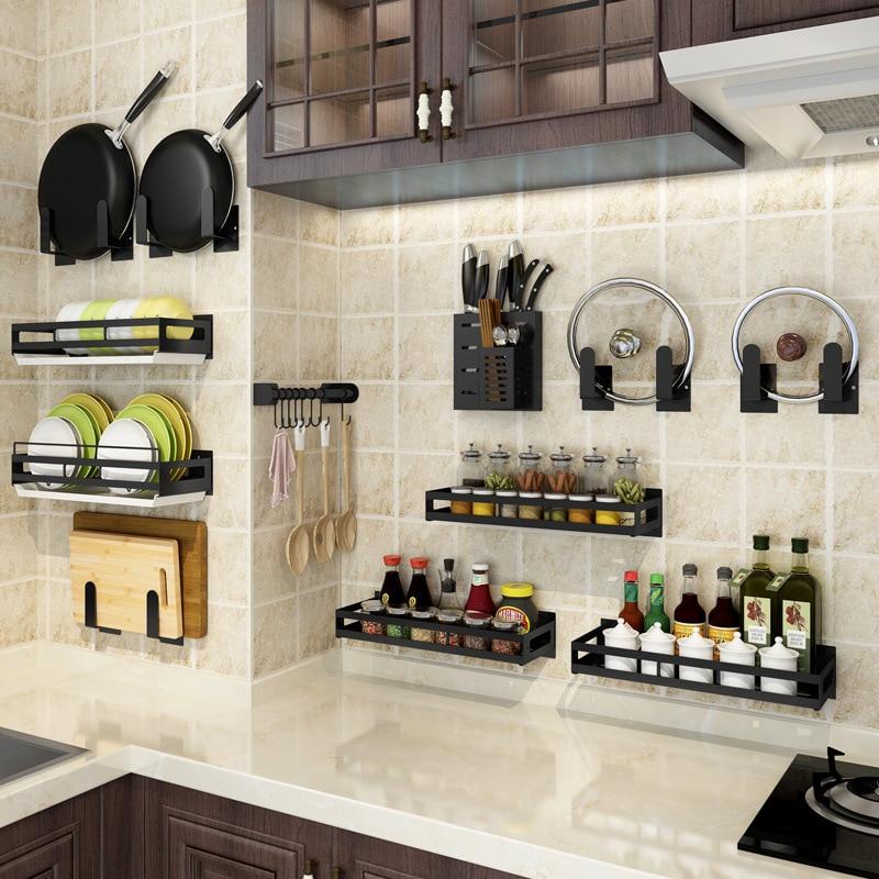 punch-free-kitchen-rack-wall-hanging-knife-holder-chopping-board-pot-cover-board-hanging-rod-dishes-seasoning-black-storage-rack