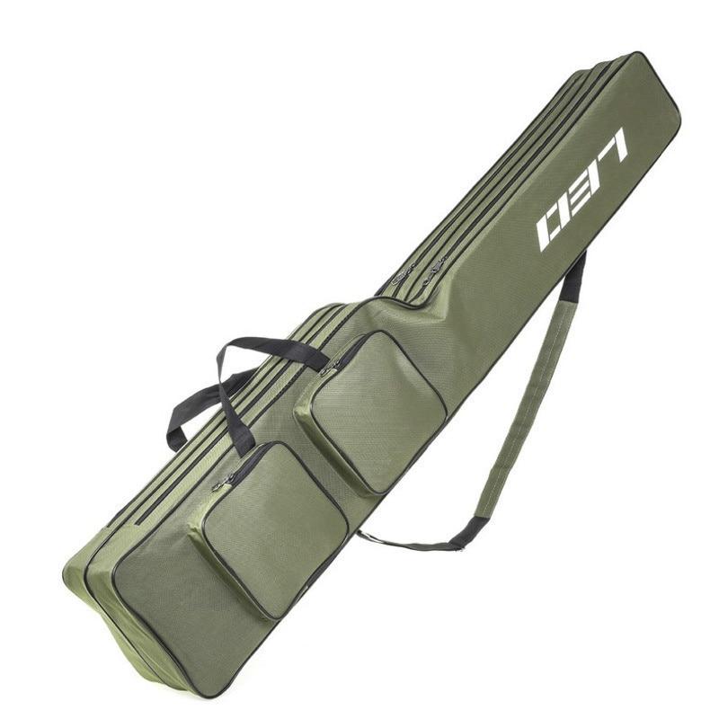 Folding Fishing Bag 2 Layer Fishing Rod Carry Case Portable Fishing Pole Storage Bag Fishing Tackle Accessories Bag 130cm(China)
