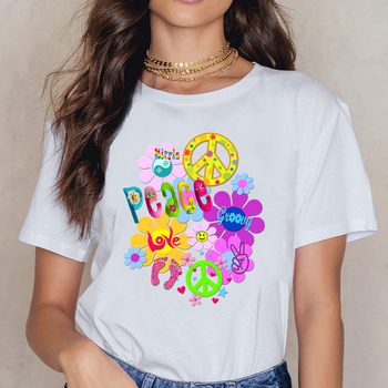 Tops T Shirt Women Hippie Design Black Print Female Shirt