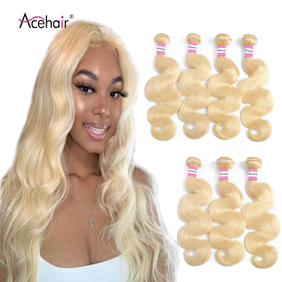 Ace 613 Blonde Brazilian Hair Weave 1/3/4 Body Wave Bundles 100% Remy Human Hair Bundles 613 Hair Extension