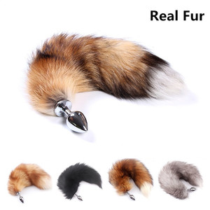 Real Soft Fox Fur Anal Butt Plug Tail For Women Animal Cosplay,Erotic Accessories With Stainless Steel Anus Plugs For Sex Games