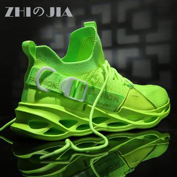 Obuwie męskie oddychające buty sportowe do biegania lekkie miękkie obuwie dla mężczyzny wygodne buty do biegania Mesh Fashion tenis tanie i dobre opinie ZHIのJIA Siateczka (przepuszczająca powietrze) podstawowe CN (pochodzenie) Sznurowane Dobrze pasuje do rozmiaru wybierz swój normalny rozmiar