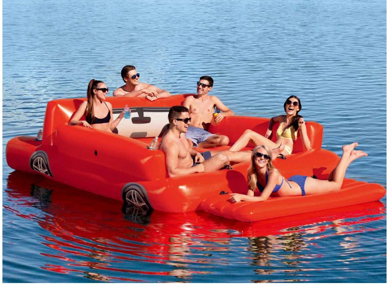 6 Person Inflatable Giant Car Truck Pool Float Island Swimming Pool Lake Beach Party Floating Boat Water Toys Air Mattresses