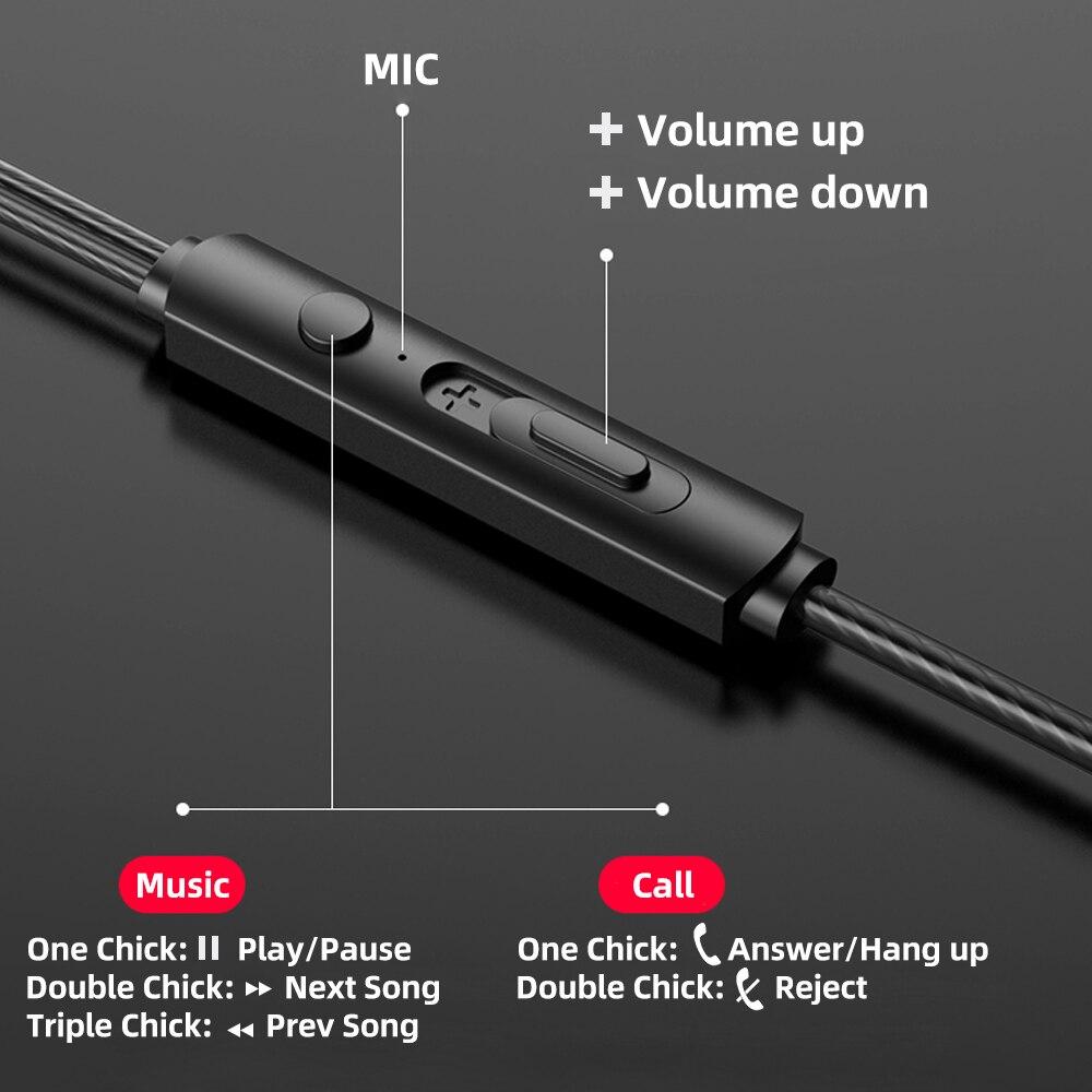 Наушники-вкладыши FONKEN 3,5 мм, проводные наушники-вкладыши с микрофоном, игровая гарнитура для смартфона xiaomi, Спортивная Музыкальная гарнитура