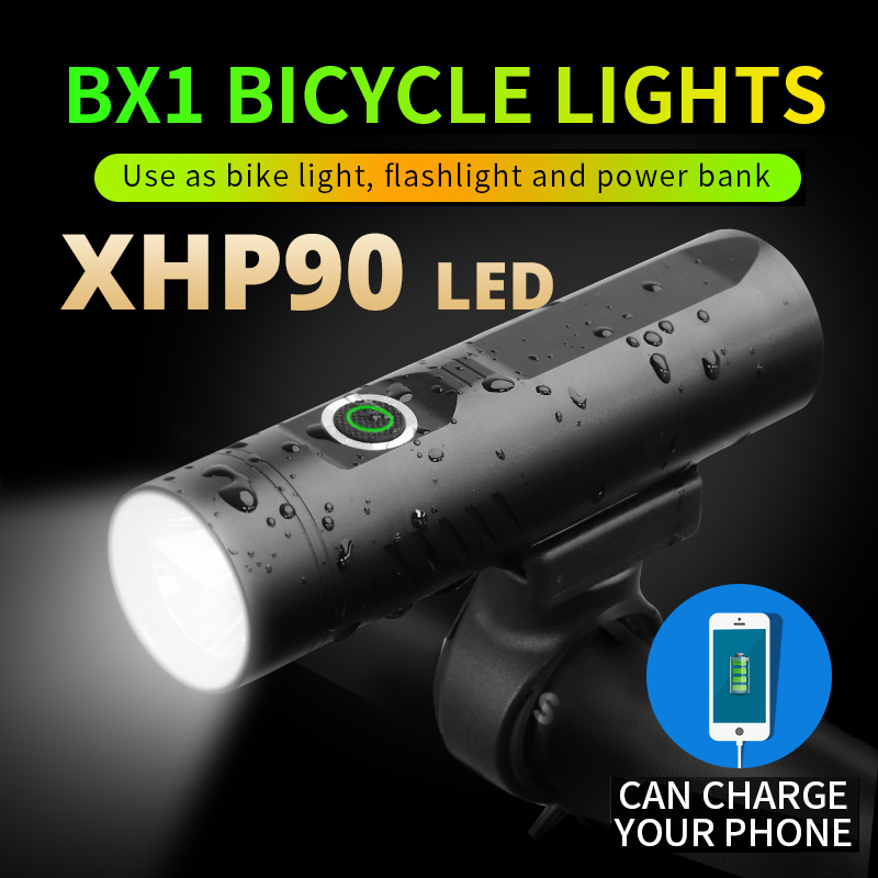 NEW Powerful XHP90 Mini LED Flashlight For Bicycle Light XHP50 Torch T6 USB Rechargeable Cycling Clip L2 As Power Bank3200mAh