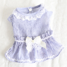 Spring and summer new cute vertical striped ruffle skirt / party dress dog clothes cat skirt vertical striped frill embroidered tape detail dress