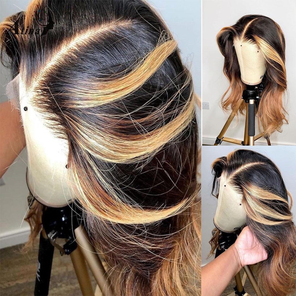 Miód Highlight kolorowe ludzki włos peruka ciało fala Frontal Glueless splot peruki dla czarnych kobiet wstępnie oskubane dziecko włoskowate zamknięcie