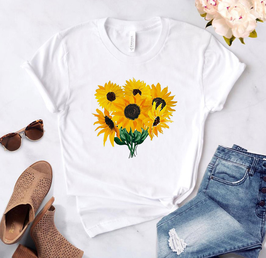 Painted Sunflower Print Women Tshirt Cotton Casual Funny T Shirt Gift 90s Lady Yong Girl High Quality Drop Ship S-846