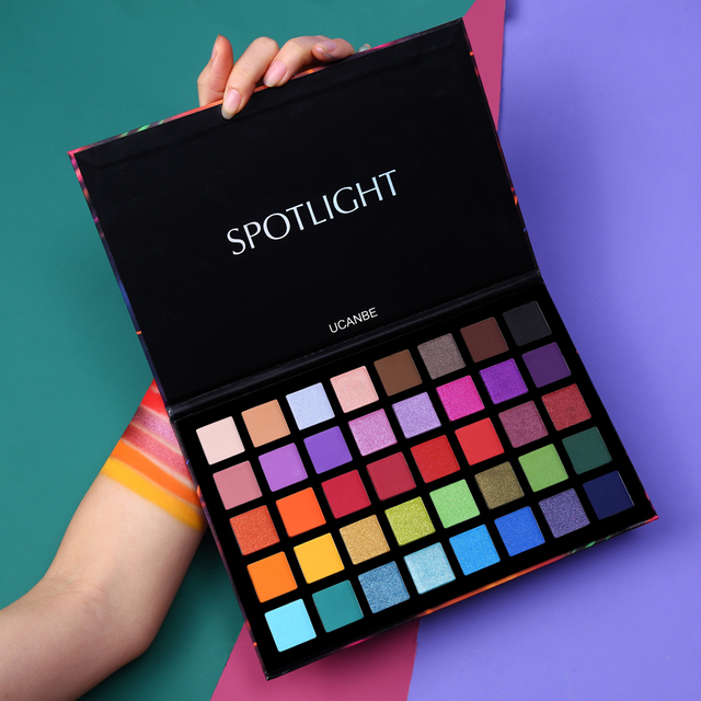 UCANBE Spotlight 40 Color Eye Shadow Palette Colorful Artist Shimmer Glitter Matte Pigmented Powder Pressed Eyeshadow Makeup Kit 2