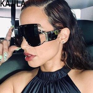 Image 1 - Übergroßen Quadratischen Rihanna Sonnenbrille Frauen Legierung Rahmen Schatten Für Frau Trend Damen Gläser UV400 oculos de sol feminino 2096