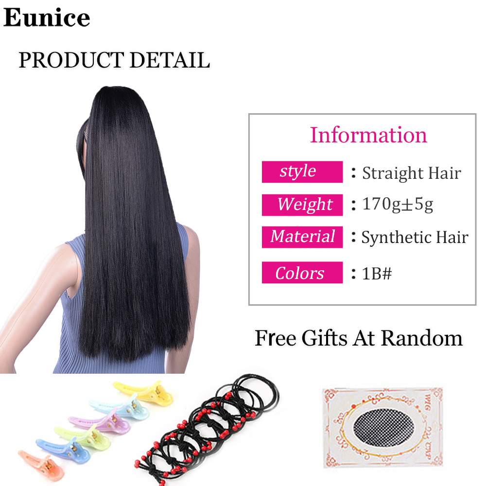 ÿHot DealsPonytail Synthetic-Hair Yaki with Bangs Hair-Extensions for Women Hairpiece Clip-In StraightÖ