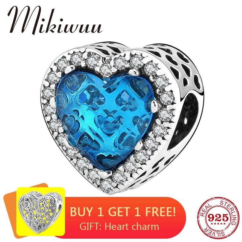 Novo 925 prata esterlina forma do coração azul zircão diy contas acessórios das mulheres jóias fazendo caber pandora encantos pulseira original
