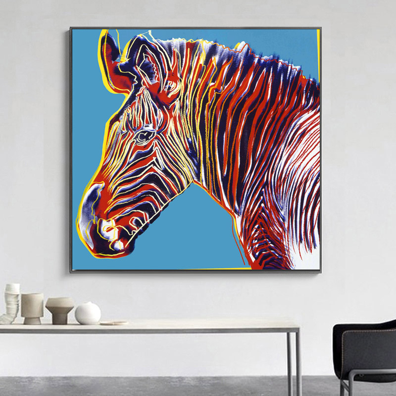 SELFLESSLY Andy Warhol Animal Art Zebra Colorful Paintings Abstract Art Canvas Print Posters For Living Room Unframed