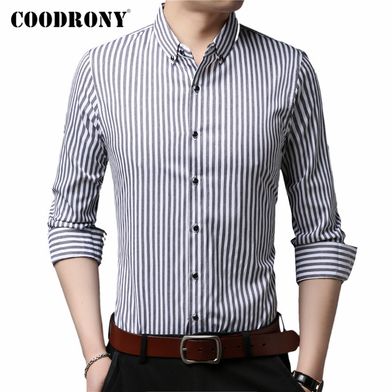 COODRONY Long Sleeve Shirt Men Clothes Spring Autumn Mens Shirts Business Casual Classic Striped Camisa Social Masculina C6021