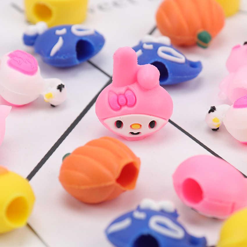 5 יח'\אריזה Kawaii בעלי החיים צורת עיפרון מכסה גומי מכתבים עיפרון גריפ לילדים מתנת עיפרון כובעי כובעי ספקי