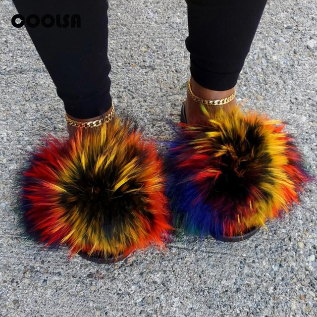 Summer Fluffy Raccoon Fur Slippers Shoes Women Real Fox Fur Flip Flop Flat Furry Fur Slides Outdoor Sandals Woman Amazing Shoes 1