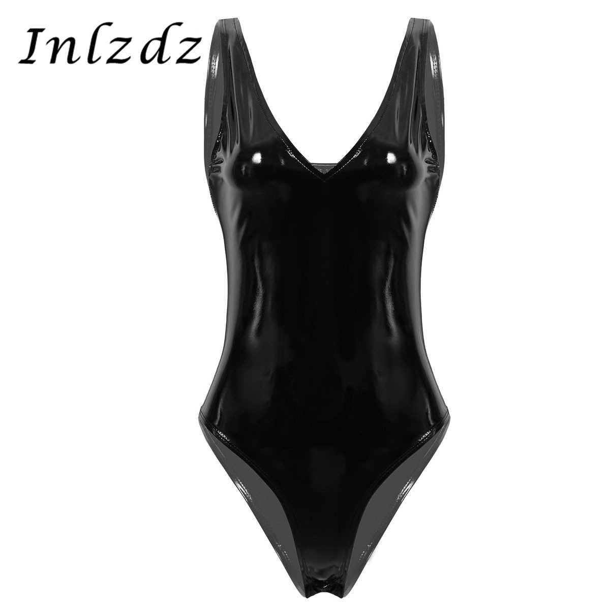 Women's Pole Dance Bodysuit One-piece Wet Look Patent Leather Deep V Neck Sleeveless High Cut Leotard Rave Bodysuit Tank Top