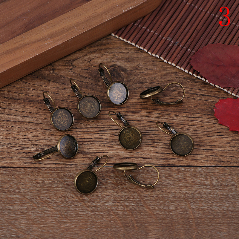 10pcs 12mm Earring Hooks Round Silver Plated Cabochon Cameo Tray Settings Earring Blank Base Supplies New Arrival