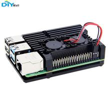 Aluminum Metal Case Black With Dual Cooling Fan for Raspberry Pi 4 цена в Москве и Питере