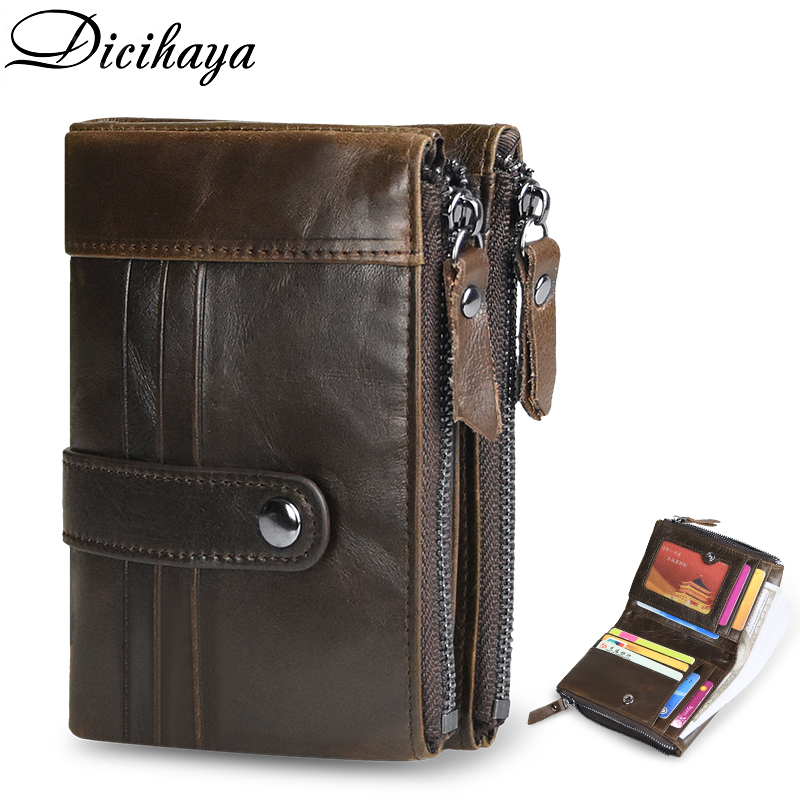 DICIHAYA Zipper Men Wallet Genuine Leather Short Wallets Male Multifunctional Cowhide Hasp Purse Coin Pocket Photo Card Holder