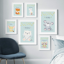 Cute Bear Koala Rabbit Raccoon Fox Nordic Posters And Prints Wall Art Canvas Painting Nursery Pictures Baby Kids Room Decor
