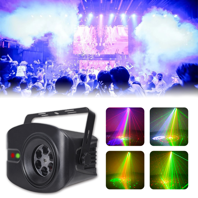 WUZSTAR 60+4 Patterns RG Laser Projector Light Disco DJ Lights RGB Party Lighting For Stage Decoration With Sound Activated