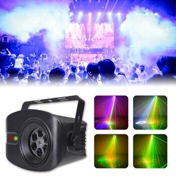 WUZSTAR 60 + 4 patrones RG láser proyector luz Disco DJ luces RGB fiesta iluminación para decoración escénica con sonido activado