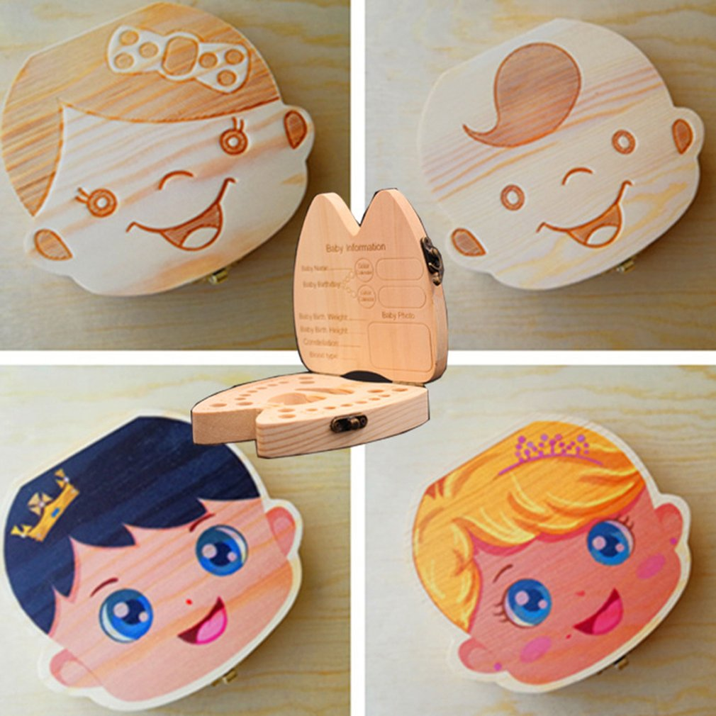 Holz Baby Kinder Zahn Lagerung Box Englisch Zähne Nabelschnur Lanugo Organizer Geschenk Andenken Sparen Baby Holz Zahn Box Lagerung