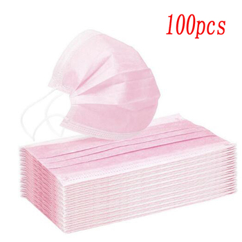 10/20/30/50/100/200 pcs Pink Color Non-woven 3 Ply Disposable Face Mouth Masks Breathable Mask with Elastic Ear Band Face Masks