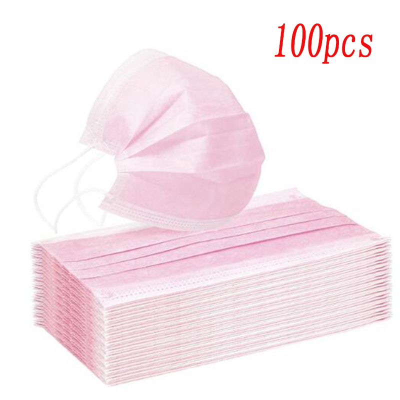 10/30/50/100/200 Pcs Pink Color Non-woven 3 Ply Disposable Face Mouth Masks Breathable Mask With Elastic Ear Band Face Masks