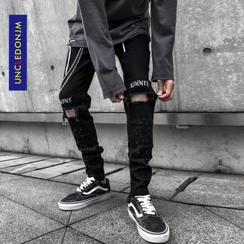 UNCLEDONJM Knee Holes Jeans Mens Scraping Black Fashion Hip Hop Stretch Slim Fit Pants Ripped Destroy