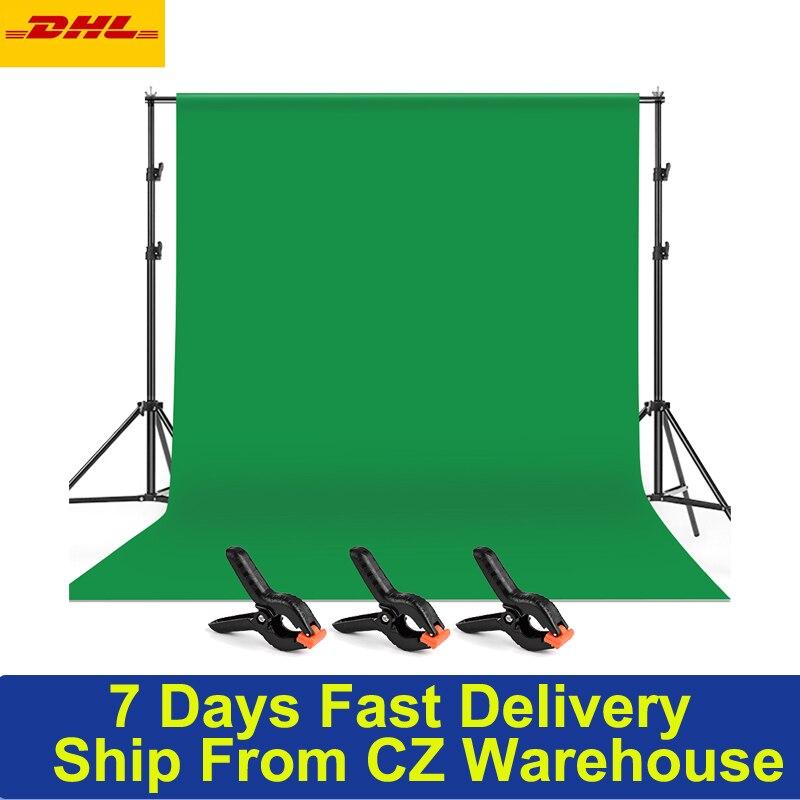 2*3m/6.6 * 10ft photographie vert écran toile de fond lavable Polyester-coton tissu avec toile de fond Support Support Support