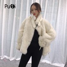Pudi TX223913 women winter Leisure Real sheep fur coat jacket overcoat lady fashion genuine fur coat outwear все цены