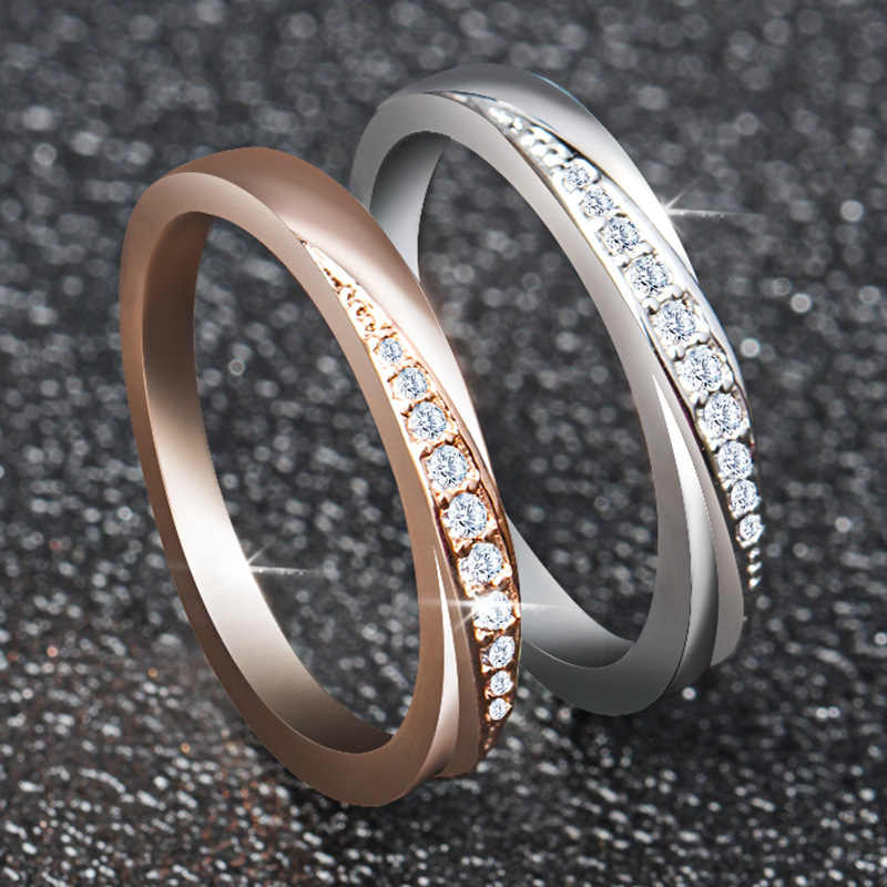 מעוקב Zirconia חתונת טבעות כסף/רוז זהב צבע חתונה טבעת תכשיטים סיטונאי