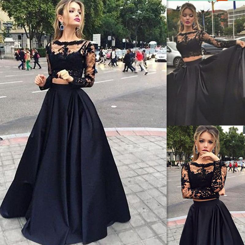 New Sexy Black Lace Satin Prom Dresses Long Sleeve Two Pieces Wedding Evening Dresses Floor-Length Fashion Party Dresses Vestido