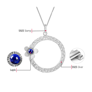 Image 5 - Lotus Fun Real 925 Sterling Silver Lapis Handmade Fine Jewelry Fresh Flower Design Pendant without Necklace Acessorios for Women