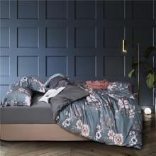 King Queen Twin size Vintage Floral hojas edredón conjunto de lujo suave seda de algodón egipcio ropa de cama sábana edredón cubierta